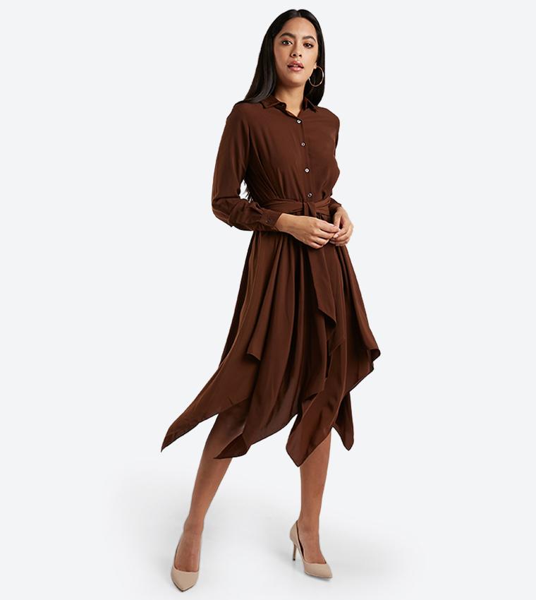 8c7822b49193 Asymmetrical Long Sleeve Shirt Dress - Brown 1810221700
