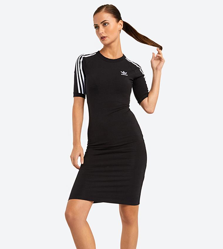 4f32e4d8594e Short Sleeve 3-Stripes Mini Dress - Black CY4748