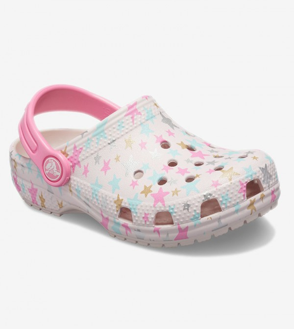 Crocs 205620 CLASSIC SEASONAL GRAPHIC CLOG Girls Slip On Casual Clog Barely Pink