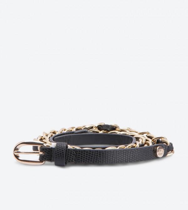 حزام معدني - أسود