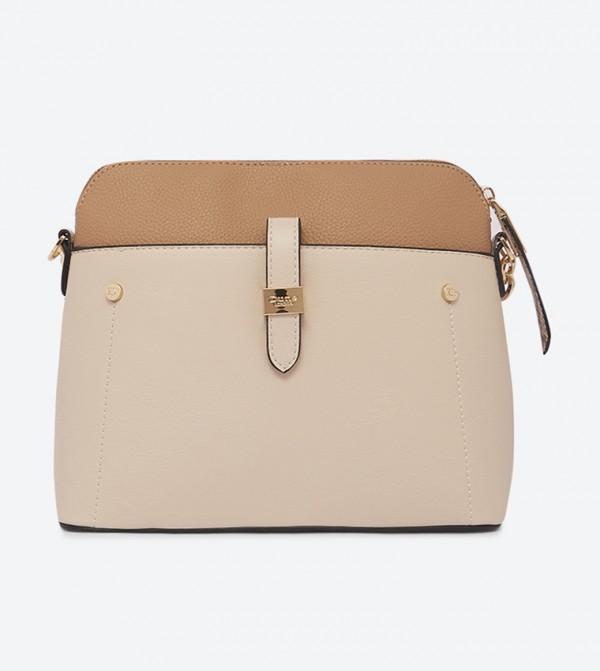 Dolive Colorblock Adjustable Strap Cross Body Bag - Beige