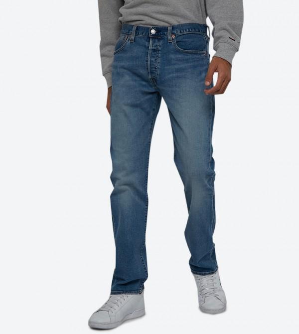 Washed 5-Pocket Button Closure 501 Original Fit Jeans - Light Blue