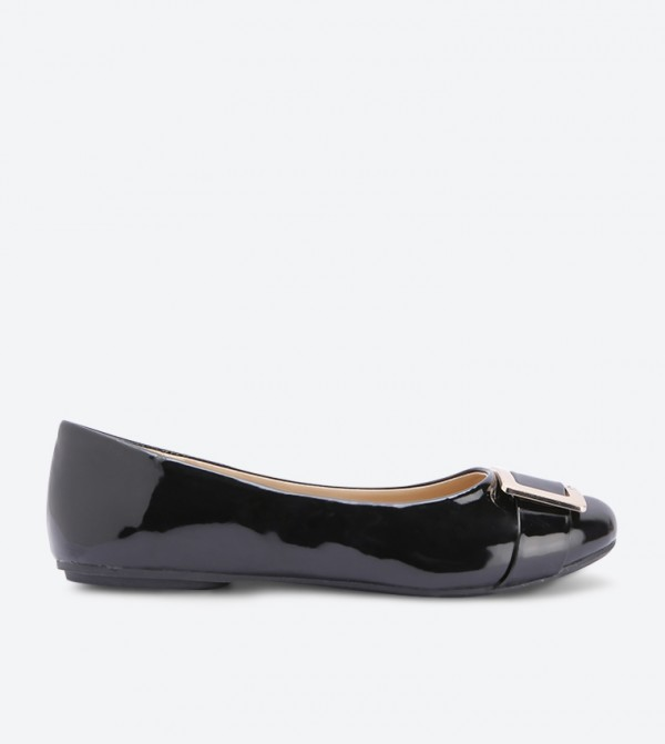 Hallie Di Buckle Details Round Toe Ballerinas - Black