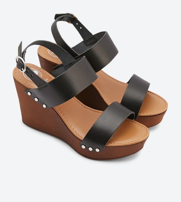Wedge Wooden Platform Kimmey Sandals Black QrdtshC
