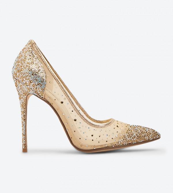 حذاء بريلانت بكعب عالي لون ذهبي