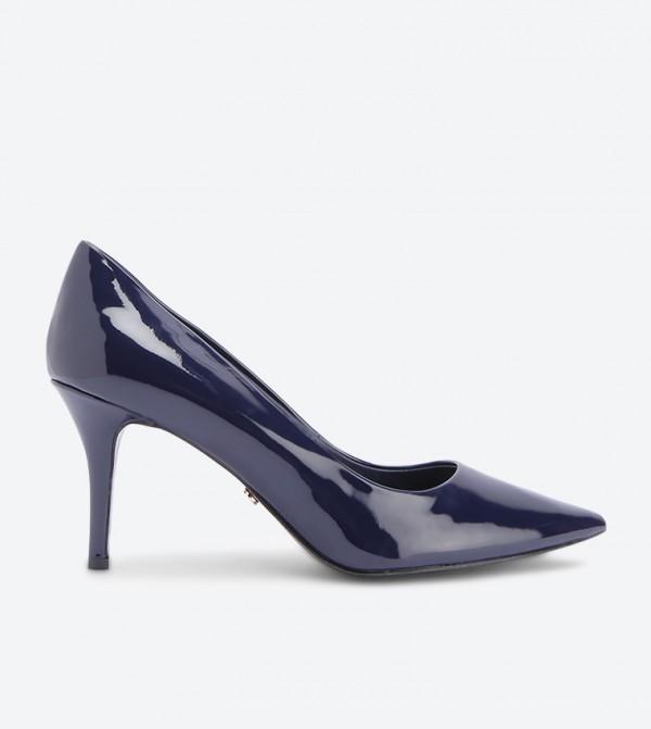 حذاء كعب رفيع بمقدمة مدببة - كحلي
