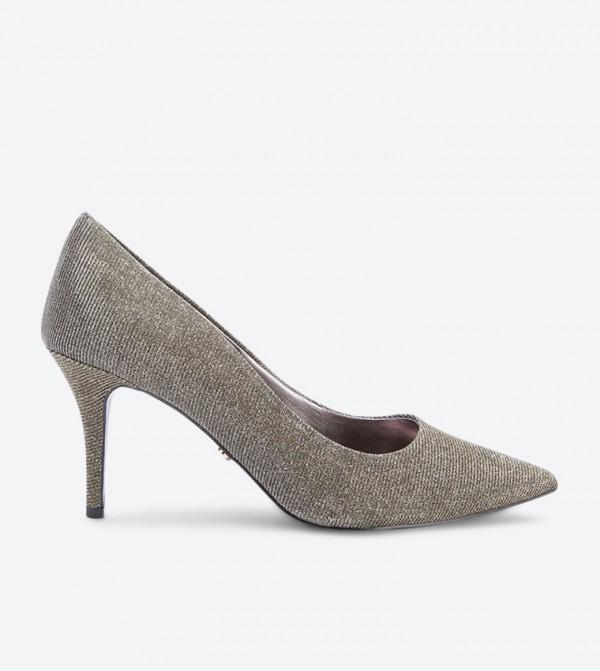 حذاء كعب رفيع بمقدمة مدببة - ذهبي
