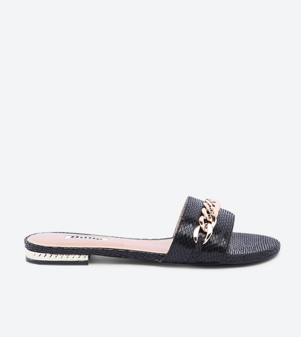 Nouveau Di Chain Detailed Round Toe Slides - Black
