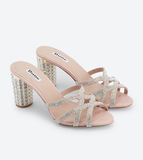 Marida Di Decorated Block Heel Mules - Pink
