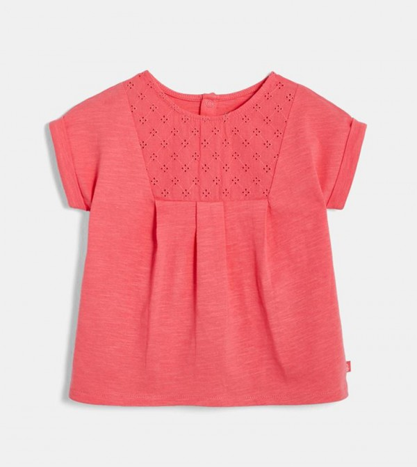 Bi-Material T-Shirt With Eyelet Embroidery-Pink