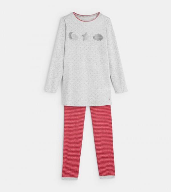 2-Piece Jersey Pajamas-Light Heather Gray