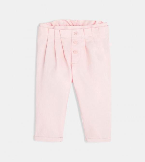 Canvas Paperbag Pants-Pink