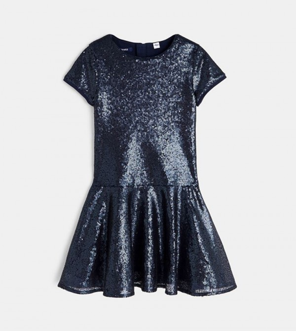 Dress With Sequins-Blue