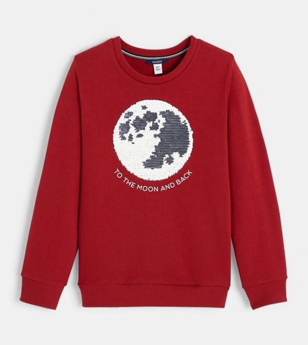 Crew Neck Sweatshirt With Magical Sequins-Red