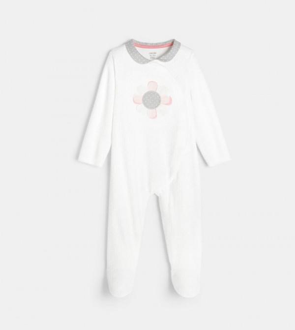لباس كامل للاطفال - ابيض مع طبعة