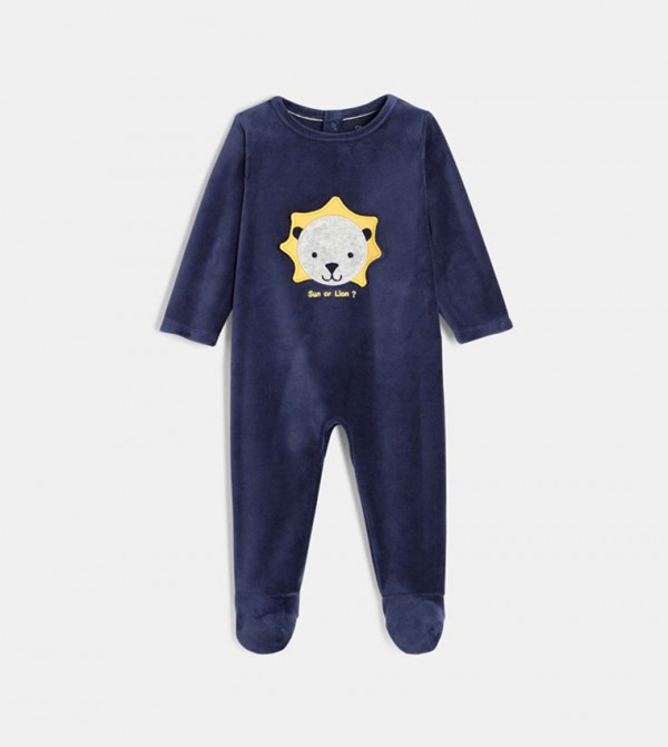 لباس كامل للاطفال - كحلي مع طبعة