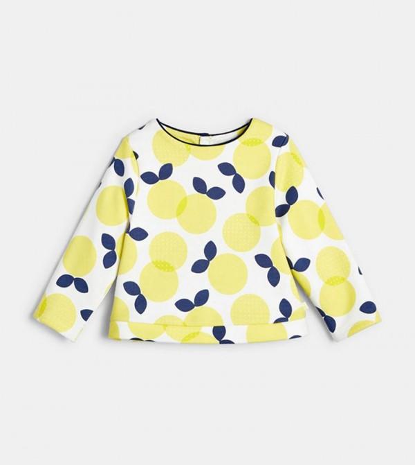 Fleece Sweatshirt With Motifs-Yellow
