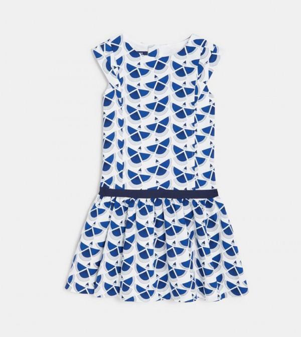 Chic Printed Dress-Blue