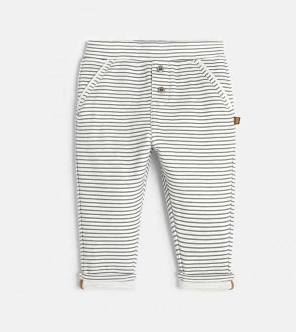Knit Sweatpants-Gray Stripe