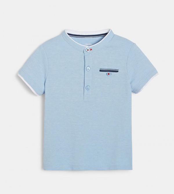 Polo Shirt With A Tunisian Collar-Blue