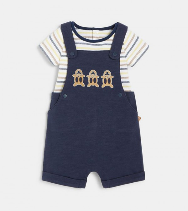Short Overalls And Striped Bodysuit-Blue