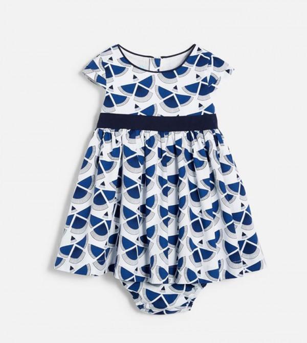 Printed Dress And Bloomer Shorts-Blue