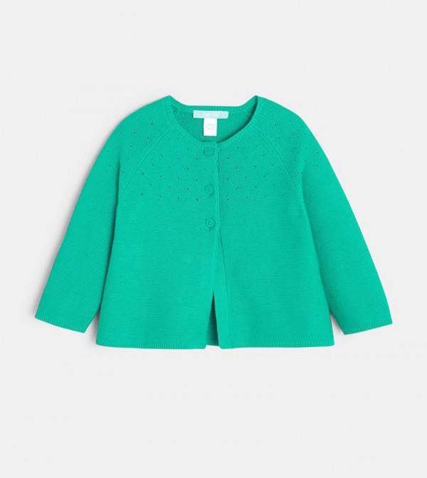 Pointelle Cotton Cardigan-Green