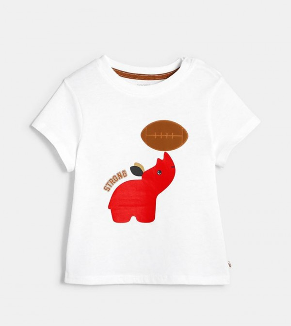 T-Shirt With An Animal Motif-White