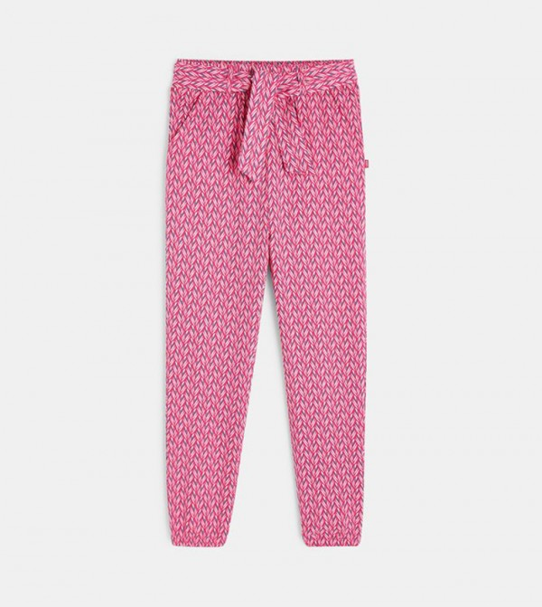 Printed And Fluid Pants-Pink