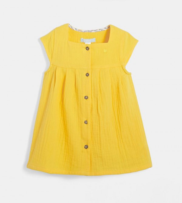 Summer Dress In A Swaddle Material-Yellow