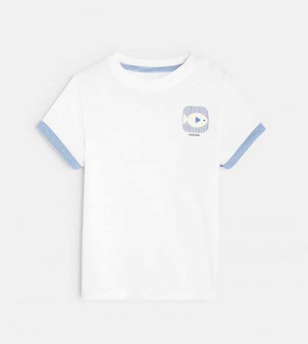T-Shirt With Motif-White
