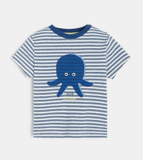 Striped T-Shirt With A Sea Motif-Blue