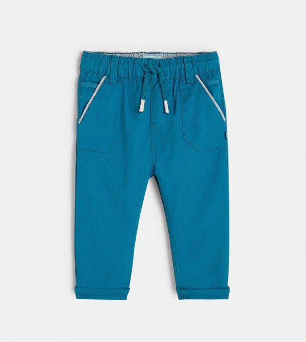 Canvas Pants With An Elastic Waistband-Turquoise