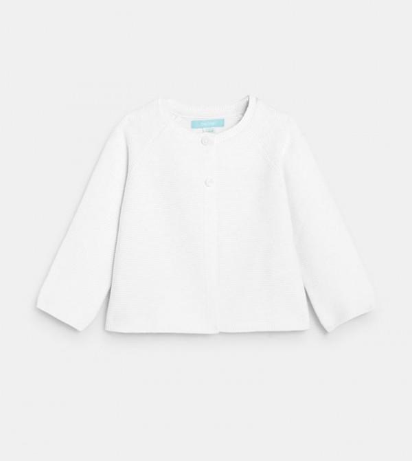 Plain-Colored Garter Stitch Cardigan-White