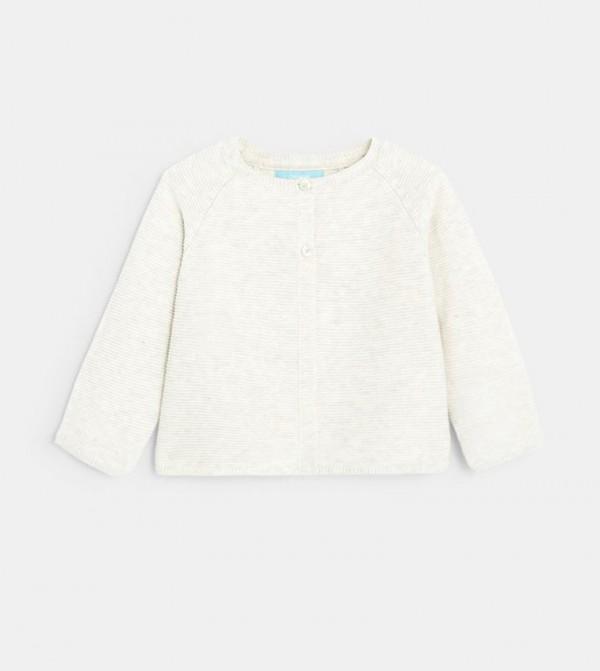 Plain-Colored Garter Stitch Cardigan-Grey