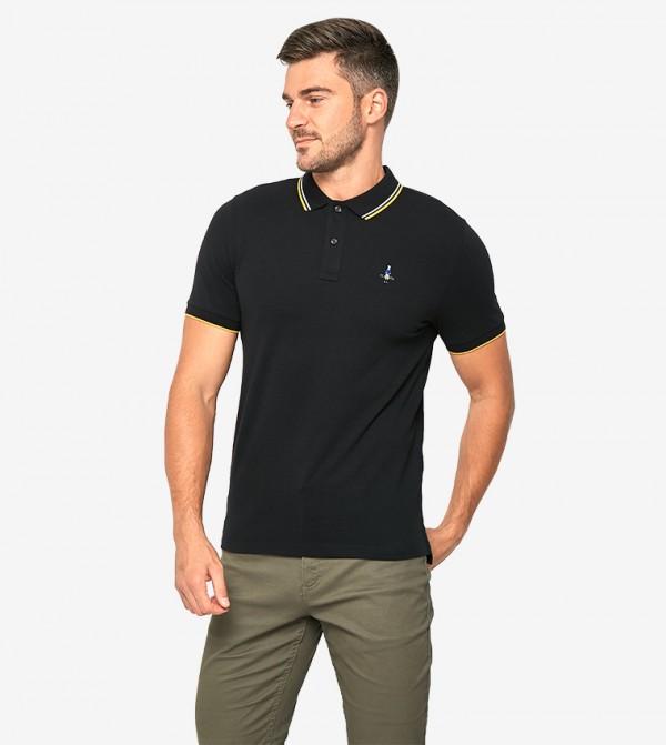 Short Sleeve Collared Neck Polo Shirt - Black - 0101626039