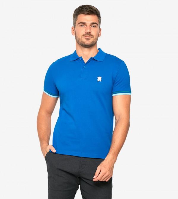Short Sleeve Collared Neck Polo Shirt - Blue - 0101700847