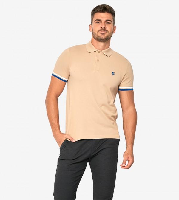 Short Sleeve Collared Neck Polo Shirt - Nude - 0101700855