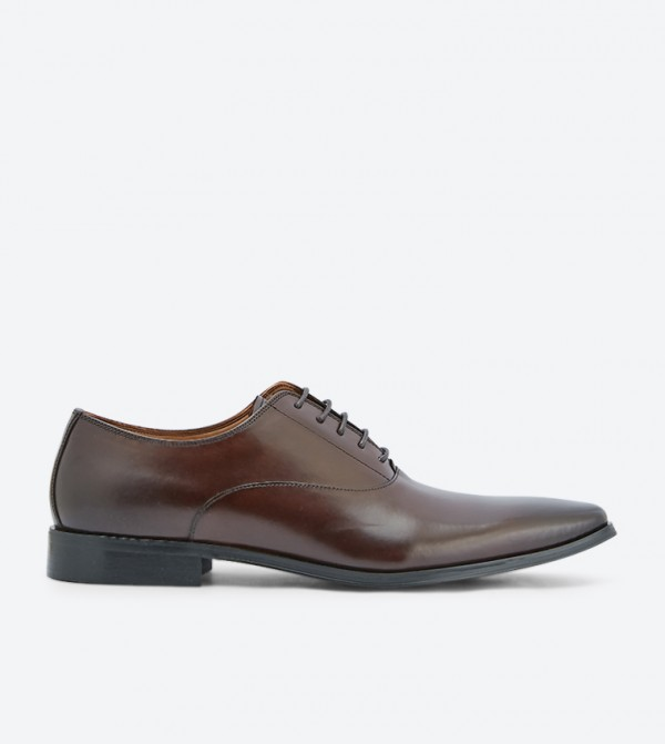 Powermore Lace Up Closure Oxford Shoes - Dark Brown