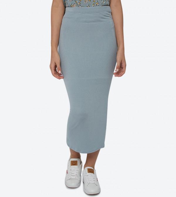 Elastic Waistband Ribbed Tube Pencil Skirt - Blue