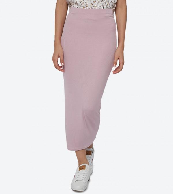 Elastic Waistband Ribbed Tube Pencil Skirt - Pink