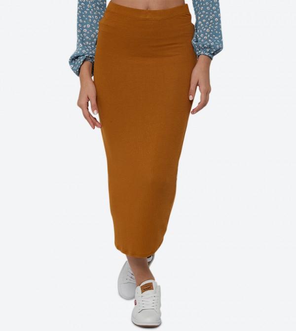 Elastic Waistband Ribbed Tube Pencil Skirt - Brown