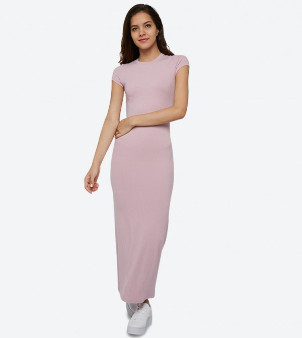 Rib Short Sleeve Bodycon Maxi Dress - Pink