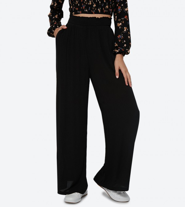 Smocked Waistband Detail Side Pocket Flare Pant - Black