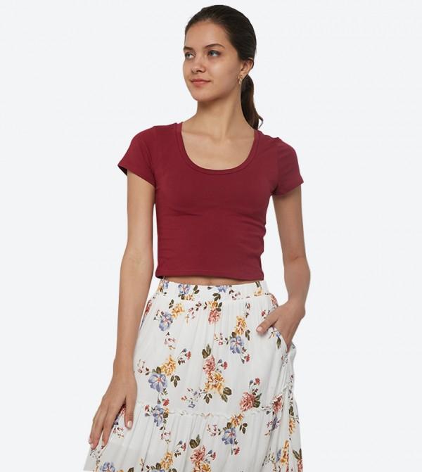 Short Sleeve Scoop Neck Crop T-Shirt - Maroon