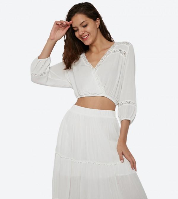 V-Neck ¾ Sleeves Wrap Blouse - White