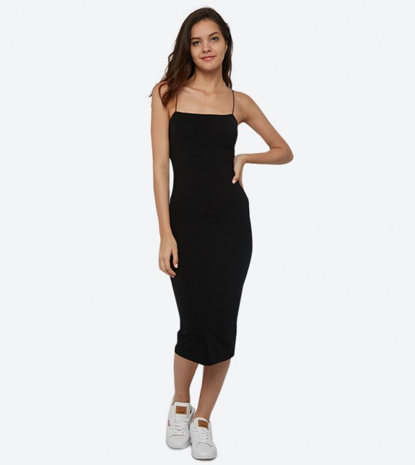 Square Neck Bungee Midi Bodycon Dress - Black