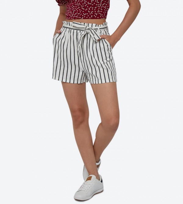 Knot Details Striped Printed Shorts - White