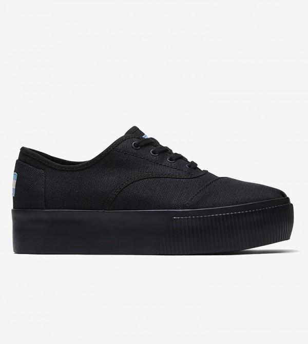 حذاء بكعب رفيع مع خيوط - أسود
