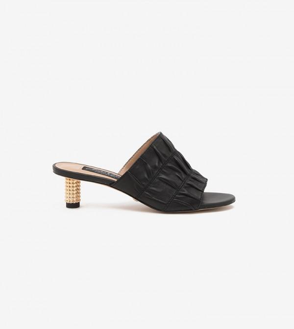 Embellished Heel Ruched Mules (Kid Suede)-Black